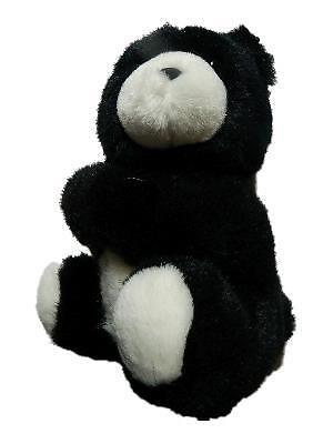 "Hallmark Heartline Black Plush Teddy Bear Hugging Holds Cards 8"""