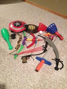 Misc. toy Sheilds, swords, bow and arrows, etc.
