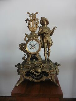 Clock French Antique Mantle Gilded Brass