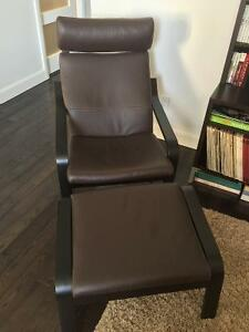 Dark Brown Recliner Chair and Ottoman - great condition