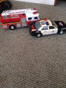 Microphone $5, fire truck& police car,$7