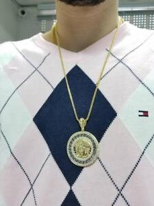 chaine franco en or jaune 10 karat + versace medussa jumbo en or 10 karat neuf