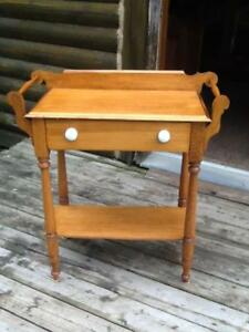 ANTIQUE TABLES , WASH STAND, HARVEST TABLE AND CHAIRS
