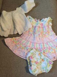 Sweet baby Gap Spring dress and hand knit sweater