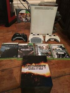 Xbox 360 GTA5 COD Black Ops + 4 games & 2 controllers