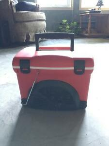Red Energizer Mini Cooler with AM/FM Radio