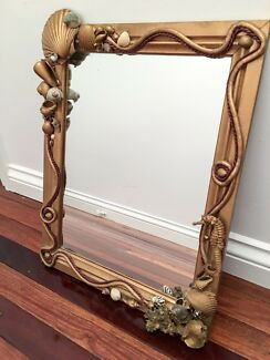 Handmade Ocean Beach Design Gold Framed Mirror