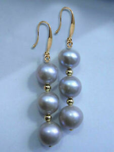 10mm south sea Gray Pearls Dangle Earring 14k GOLD