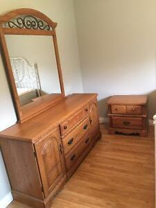Solid Oak Dresser & Night Table