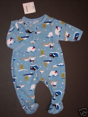 NWT Gymboree 0-3 Arctic Penguin Polar Bear Fleece Footy Sleeper Pajama Gymmies ()