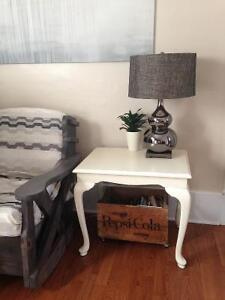 ~Lightly distressed Antique white side table~