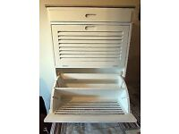 Antique White Shoe Cabinet With Draw ~ All Built ~ Shabby Chic top ~New/Boxed