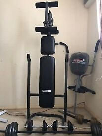 Barbell Dumbbell Set - 150kg, PRO fitness Heavy duty Bench and leg press & AB Trainer