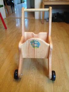 Natural Wooden Push Cart