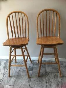2 solid oak swivel bar stools Peterborough Peterborough Area image 1