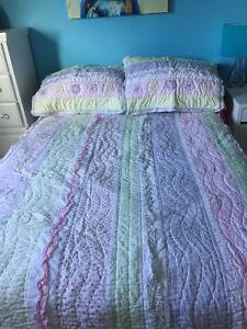 Beautiful double size quilt and 2 shams for girls bedroom