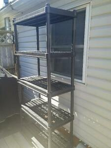 three plastic shelving units from Home Depot and Costco