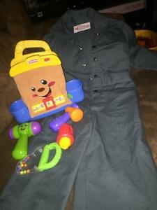 Size 2 coveralls and fisher price tool set