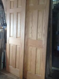 Hardwood Oak doors,  & 2 white hollow doors