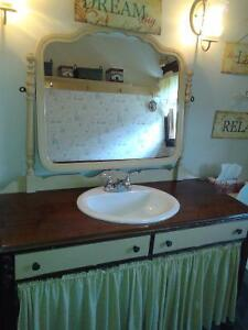 Old Fashion Vanity with Mirror Sink and Taps