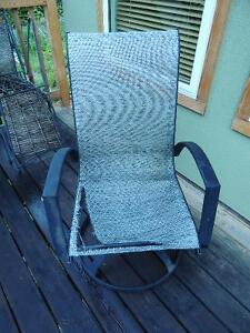 Four Bamboo Chairs and Two Reclining Steel Frame Lawn Chairs