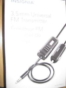 Insignia Universal FM Transmitter. Play / Listen Music in Car Stereo from any Phone. AUX Audio Cable. iPhone / Samsung