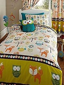 Woodland animals and owls duvet and curtains