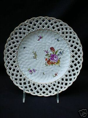 exquisite FLORAL RETICULATED MEISSEN ANTIQUE PLATE