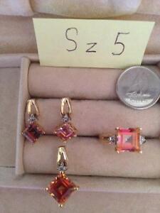 Genuine gemstone sets in 10 gold
