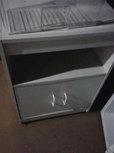 white microwave cart
