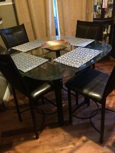Pub style glass table and 4 chairs $400 OBO!!