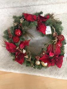 NEW Pre-Lit Royal Poinsettia Wreath
