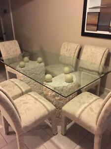 Glass Top Dining Set w/6 Chairs & matching Sofa & Coffee Tables