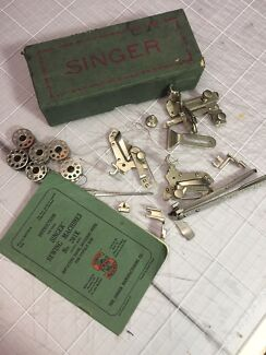 Vintage Singer Sewing Machine 201K Manual and boxed parts