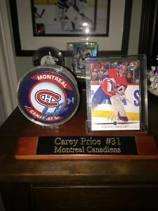 Carey Price signed puck with card and wooden display with COA