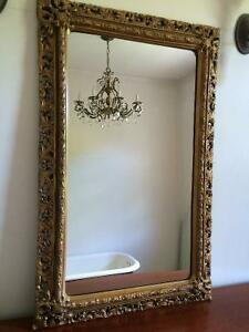 Mirror - great detail antique gold tone