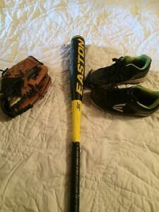 Cleats, glove and bat