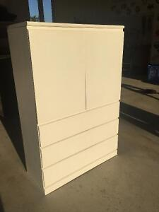 White High Boy with 3 Drawers and Shelves in Good Condition!