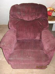 Burgundy Plush Lazy Boy Recliner / Chair with large headrest