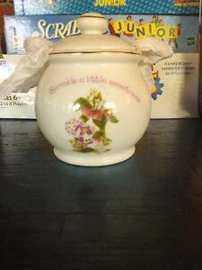 Fine porcelain strawberry shortcake sugar bowl