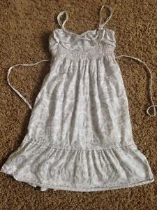 Justice white and silver dress sz 8-10