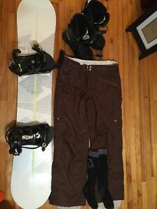 Sims snowboard,bindings,boots Burton pants and more