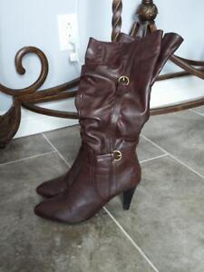 Dark brown leather stiletto boots, size 10, worn once, $40 ono St. John's Newfoundland image 2