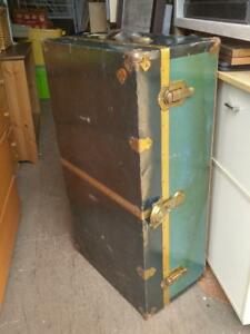 Oakville Metal Wood Trunk VINTAGE Rustic Antique Travel Case Freight Green Old McBrine Baggage Canada