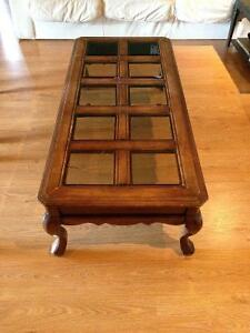 Solid Wood Coffee & End Tables - Smoked Bevelled Glass Cambridge Kitchener Area image 4