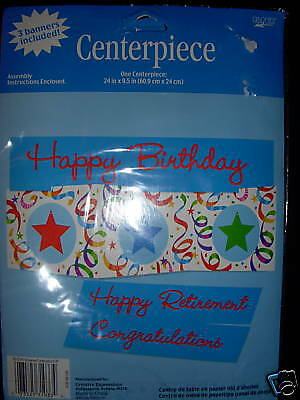 NIP Birthday Retirement Congrats 3 in 1 Centerpiece Birthday Party Supplies NEW](Retirement Center Pieces)