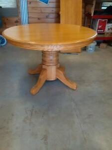 oak pedestal table 48""