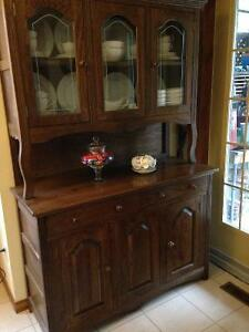 Solid wood antique china cabinet and table