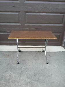 Vintage solid wooden kid's study table with metal base