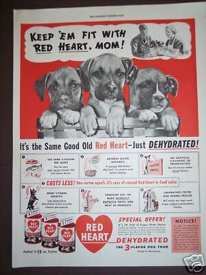 1940's PUPPIES in a Basket RED HEART Dog Food Ad
